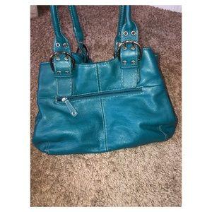Tignanello Turqouise Blue Leather Tote Bag